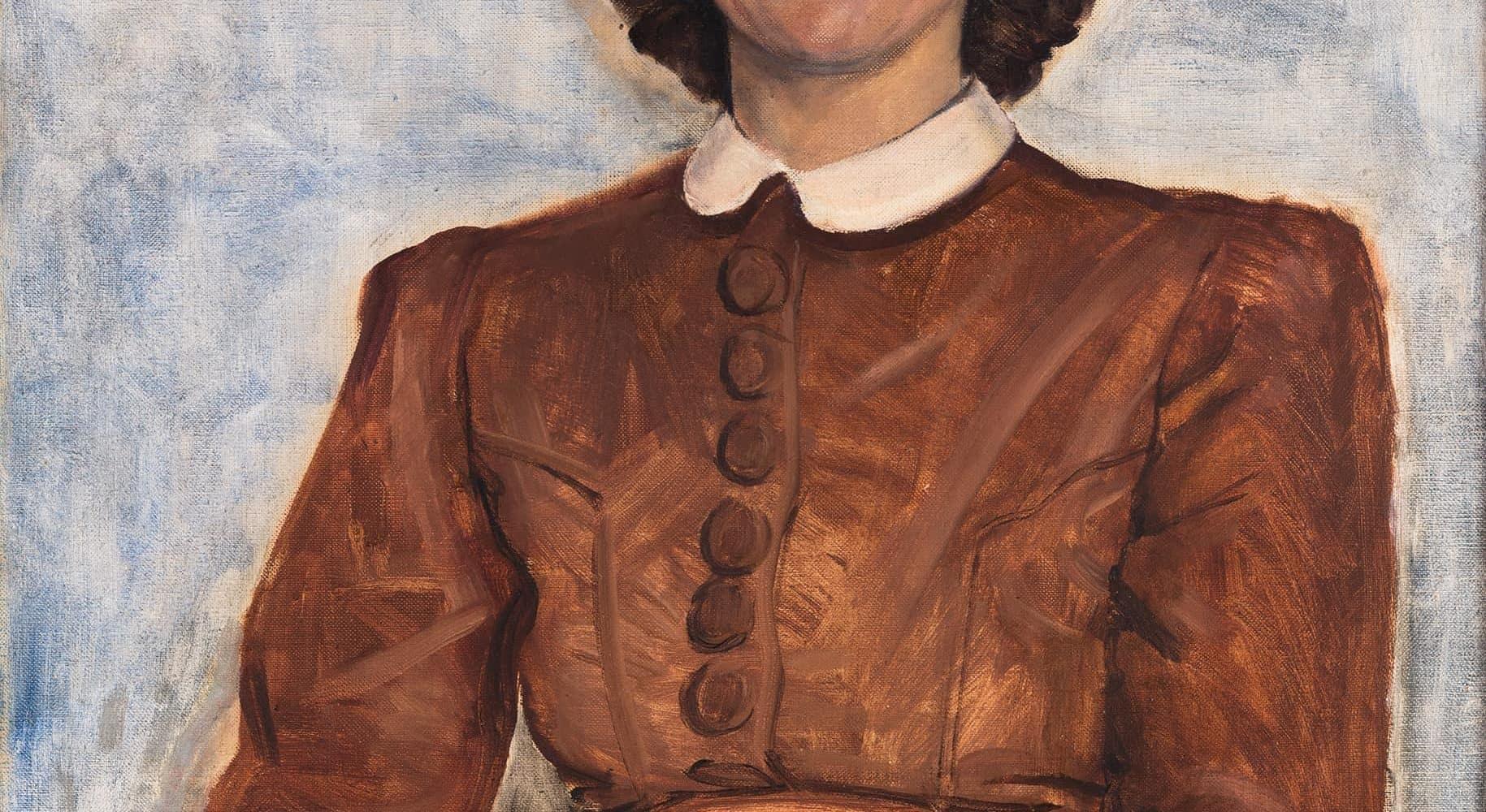 Porträt einer Dame im roten Kleid | 1942