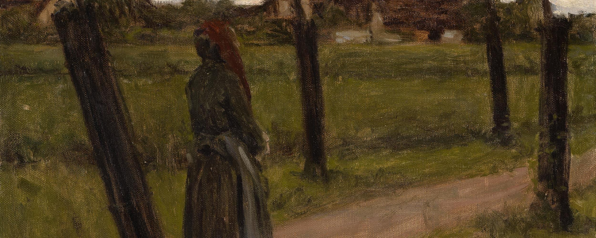 Bäuerin vor einem Dorf | o. D.