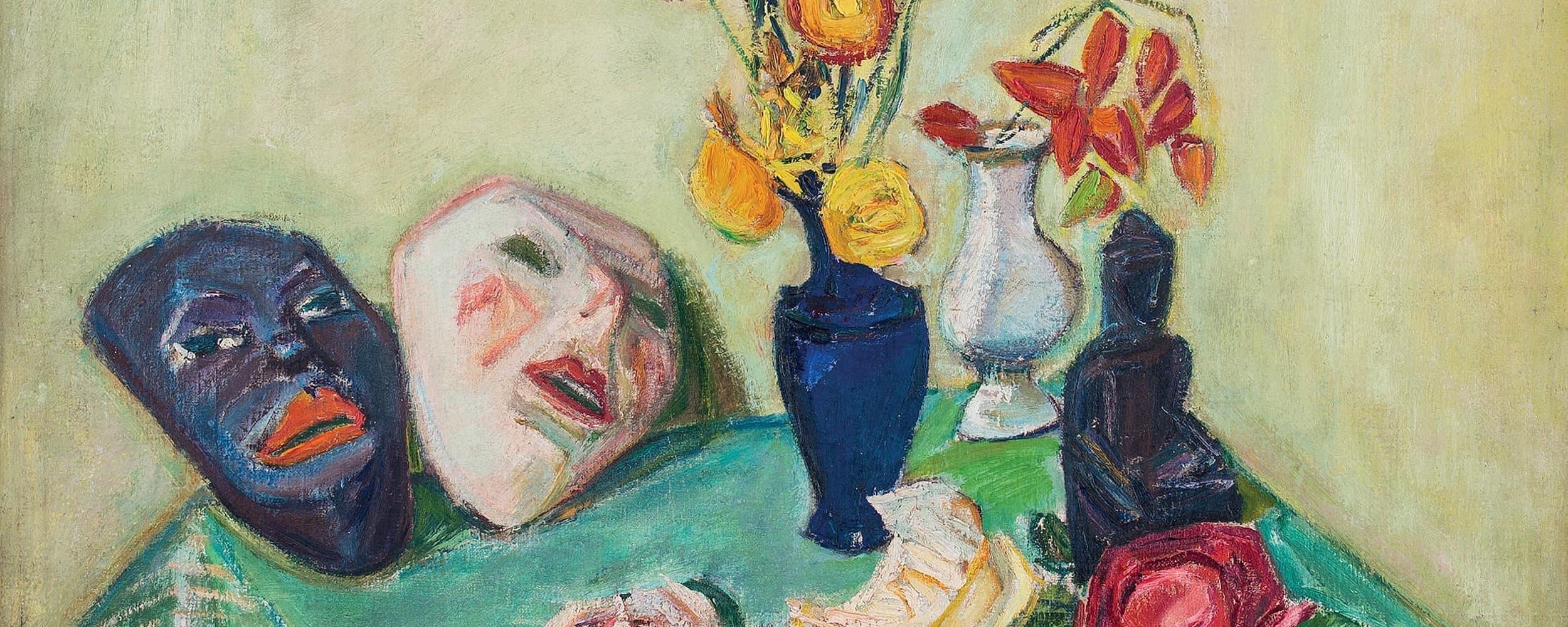Blumenstillleben mit Masken | 1920
