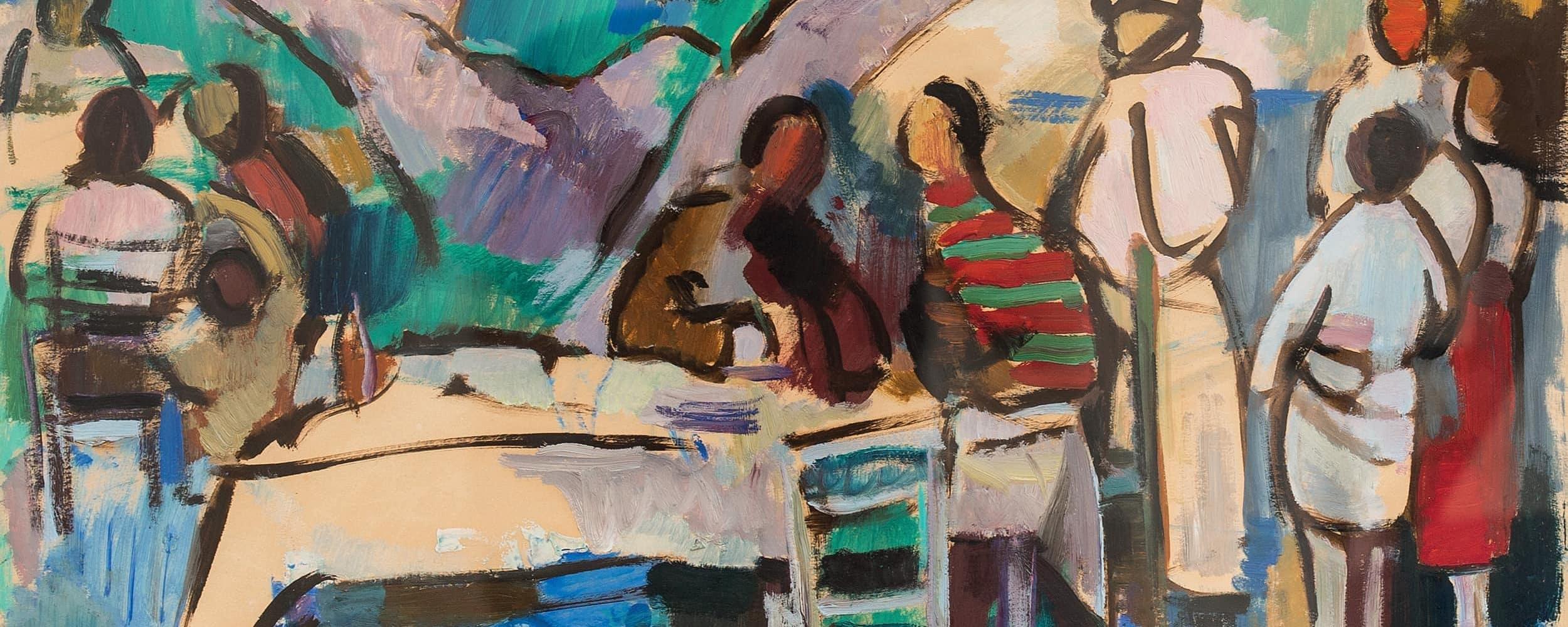 Gesellschaft am Tisch im Garten | 1963