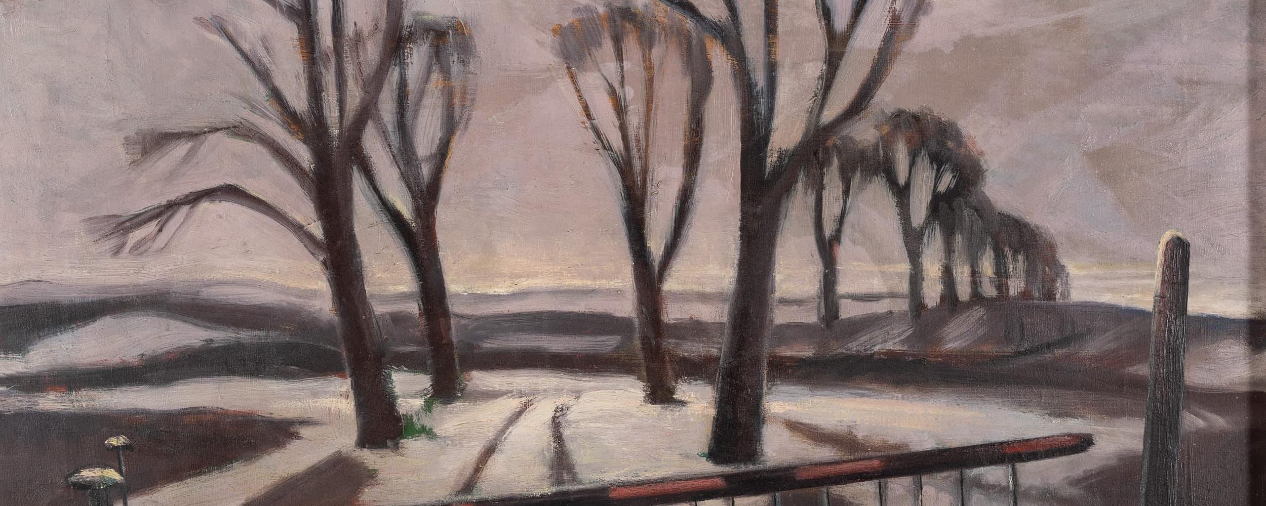 Winterabend mit Bahnschranke | 1933